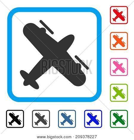 Screw Aeroplane icon. Flat grey iconic symbol inside a light blue rounded rectangle. Black, gray, green, blue, red, orange color additional versions of Screw Aeroplane vector.