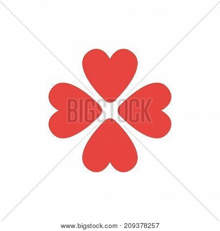 Flat Design Style Vector Concept Of Rotated Four Hearts