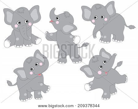 Vector set of cute cartoon elephants. Vector baby elephant. Elephants vector illustration