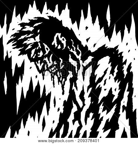 The demon is bleeding when its head is down. Vector illustration. Genre of horror. Scary character for Halloween.