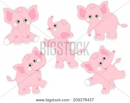 Vector set of cute cartoon elephants. Vector baby elephant. Elephants vector illustration