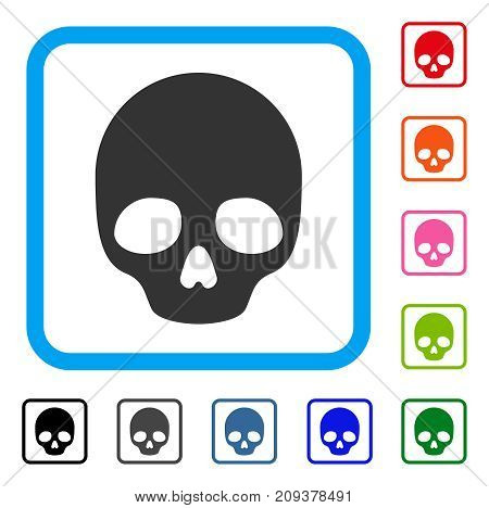 Skull icon. Flat grey iconic symbol inside a light blue rounded rectangular frame. Black, gray, green, blue, red, orange color additional versions of Skull vector. Designed for web and app interfaces.