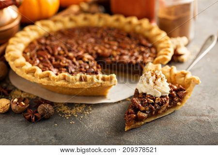 Traditional pecan pie, fall dessert concept for Thanksgiving