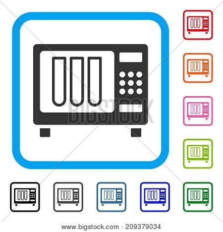 Sterilizer icon. Flat grey iconic symbol in a light blue rounded frame. Black, gray, green, blue, red, orange color additional versions of Sterilizer vector.