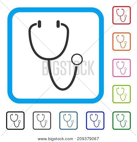 Stethoscope icon. Flat gray iconic symbol inside a light blue rounded rectangular frame. Black, gray, green, blue, red, orange color variants of Stethoscope vector. Designed for web and software UI.