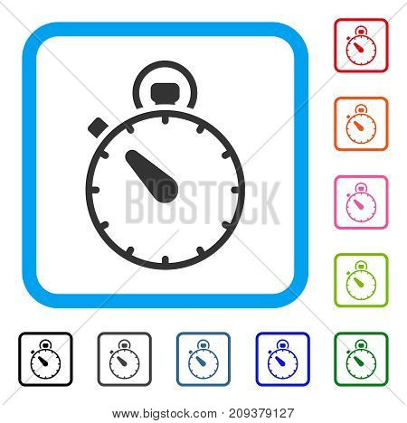 Stopwatch icon. Flat gray iconic symbol inside a light blue rounded frame. Black, gray, green, blue, red, orange color variants of Stopwatch vector. Designed for web and app interfaces.