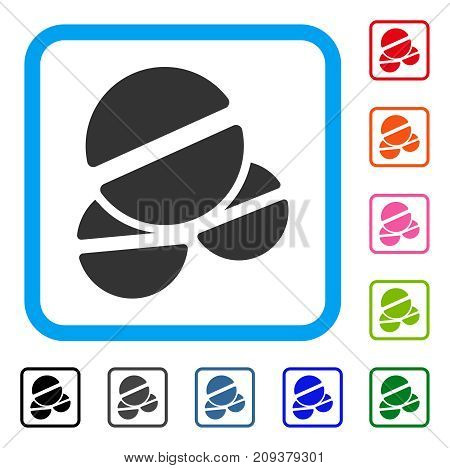 Tablets icon. Flat grey pictogram symbol in a light blue rounded rectangular frame. Black, gray, green, blue, red, orange color additional versions of Tablets vector.