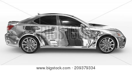 Car Isolated On White - Chrome, Tinted Glass - Right Side View