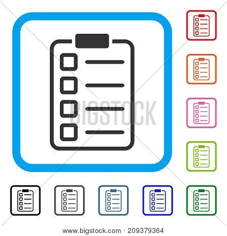 Test Form icon. Flat grey iconic symbol in a light blue rounded frame. Black, gray, green, blue, red, orange color variants of Test Form vector. Designed for web and software user interface.