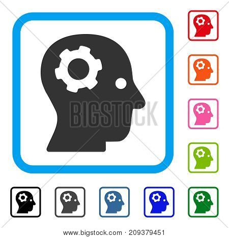 Thinking Gear icon. Flat gray pictogram symbol in a light blue rounded frame. Black, gray, green, blue, red, orange color versions of Thinking Gear vector. Designed for web and app user interface.