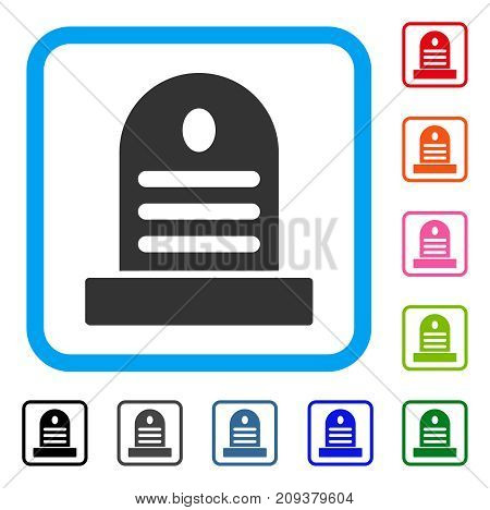 Tombstone icon. Flat gray iconic symbol in a light blue rounded frame. Black, gray, green, blue, red, orange color variants of Tombstone vector. Designed for web and software user interface.