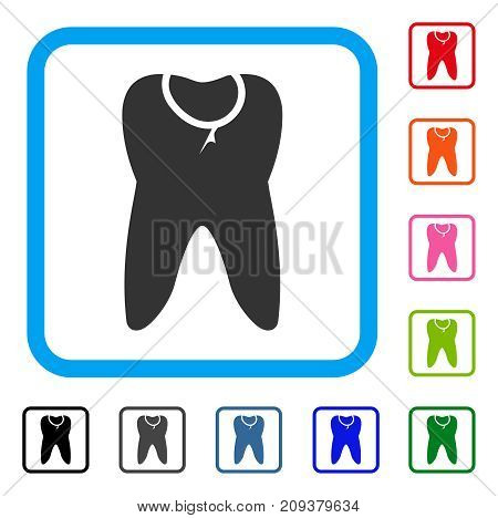 Tooth Caries icon. Flat gray pictogram symbol in a light blue rounded rectangular frame. Black, gray, green, blue, red, orange color additional versions of Tooth Caries vector.