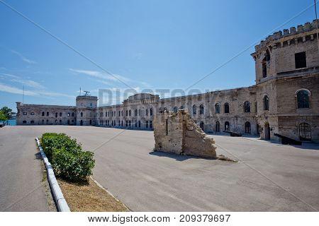 Courtyard of old coastal Michael's fortress in Sevastopol, Crimea