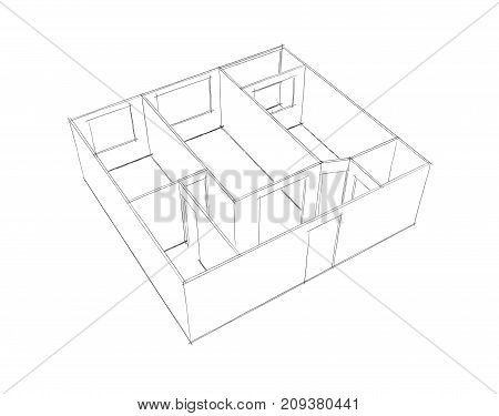 Empty room plan.Isolated on white background.Sketch illustration.