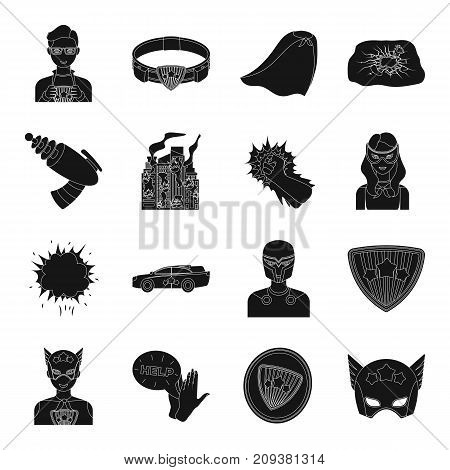 Suit, sign, and other  icon in black style. Lifeguard, protector, superpower icons in set collection