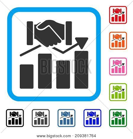 Acquisition Graph icon. Flat gray iconic symbol inside a light blue rounded rectangular frame. Black, gray, green, blue, red, orange color additional versions of Acquisition Graph vector.