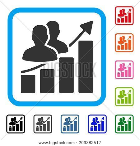 Audience Growth Bar Chart icon. Flat gray pictogram symbol in a light blue rounded squared frame. Black, gray, green, blue, red, orange color versions of Audience Growth Bar Chart vector.