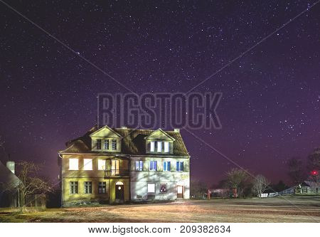 Old German House Under The Starry Sky