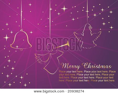 purple rays, twinkle star background with christmas icons