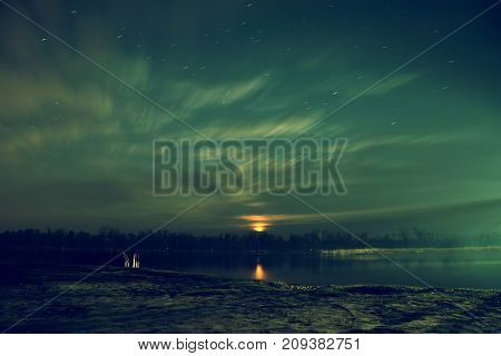 night landscape moonrise bright russia on a river