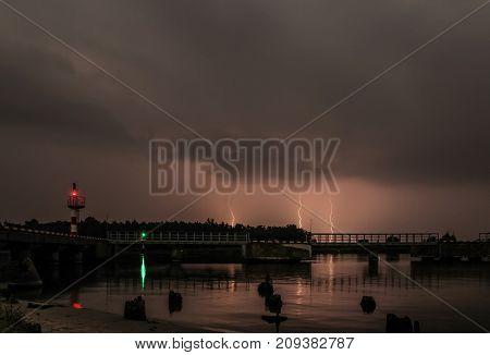 lightning in the sky at night landscape