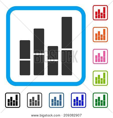 Bar Chart icon. Flat gray iconic symbol in a light blue rounded frame. Black, gray, green, blue, red, orange color variants of Bar Chart vector. Designed for web and application interfaces.