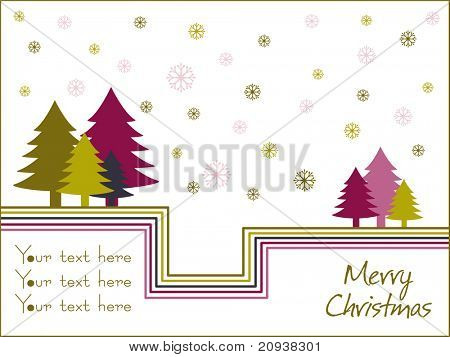 white background with bloom and colorful xmas tree