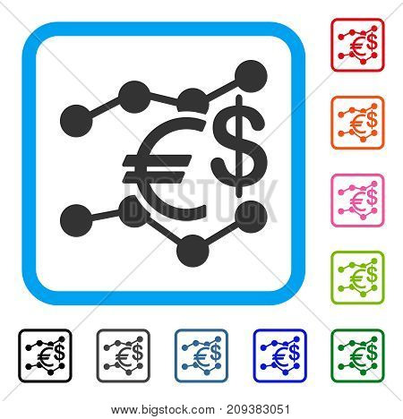 Currency Trends icon. Flat grey pictogram symbol inside a light blue rounded frame. Black, gray, green, blue, red, orange color additional versions of Currency Trends vector.