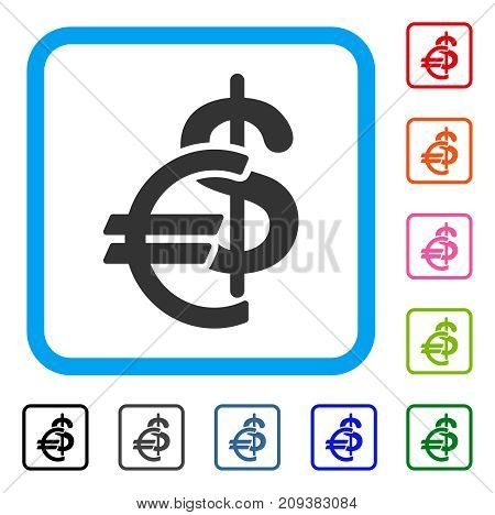 Currency icon. Flat grey iconic symbol in a light blue rounded squared frame. Black, gray, green, blue, red, orange color variants of Currency vector. Designed for web and application user interface.