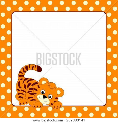 Vector card template with cute baby tiger on polka dot background. Card template for baby shower and birthday with space for your text. Card template  vector illustration