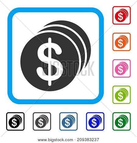 Dollar Coins icon. Flat grey pictogram symbol inside a light blue rounded rectangle. Black, gray, green, blue, red, orange color additional versions of Dollar Coins vector.