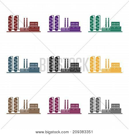 Oil refinery factory icon in black style isolated on white background. Oil industry symbol vector illustration.
