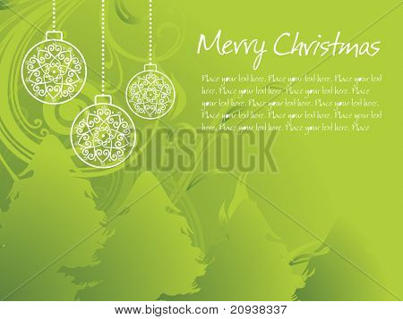 abstract green floral, christmas tree background with hanging ball
