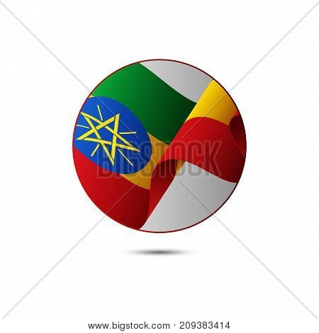 Ethiopia flag button with shadow on a white background. Vector illustration.