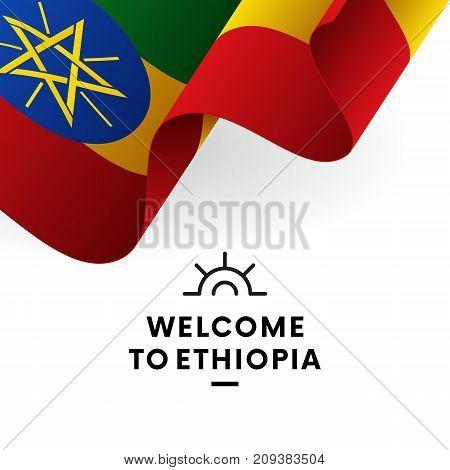 Welcome to Ethiopia. Ethiopia flag. Patriotic design. Vector illustration.