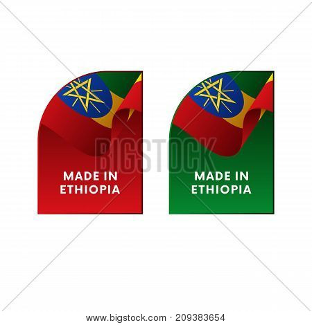 Stickers Made in Ethiopia. Waving flag. Vector illustration.