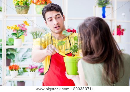Florist selling flowers in a flower shop