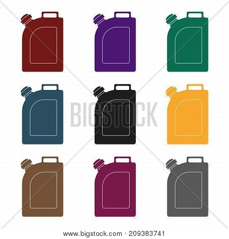 Oil jerrycan icon in black style isolated on white background. Oil industry symbol vector illustration.