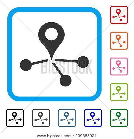 Geo Network icon. Flat gray iconic symbol inside a light blue rounded rectangular frame. Black, gray, green, blue, red, orange color versions of Geo Network vector.