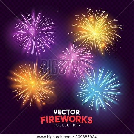 A set of Isolated bursting vector fireworks holiday celebration symbols!