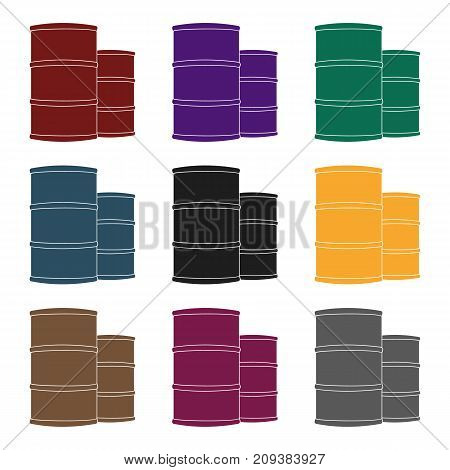 Oil barrels icon in black style isolated on white background. Oil industry symbol vector illustration.