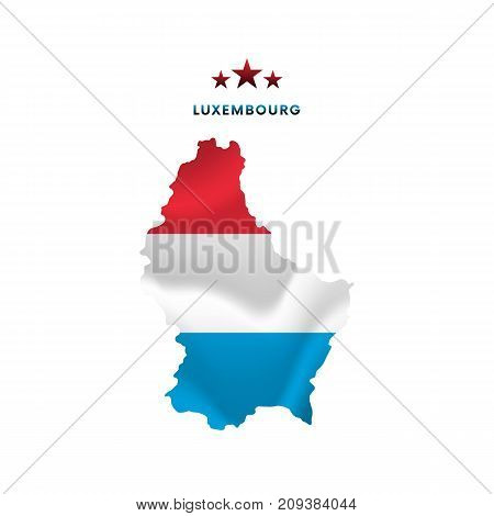 Luxembourg map with waving flag. Vector illustration.