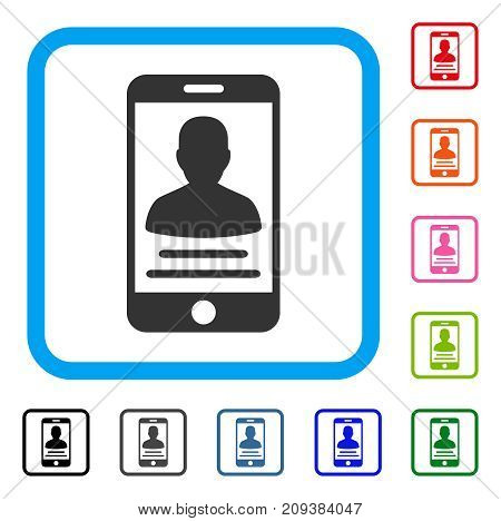 Mobile Account icon. Flat gray pictogram symbol inside a light blue rounded square. Black, gray, green, blue, red, orange color variants of Mobile Account vector.