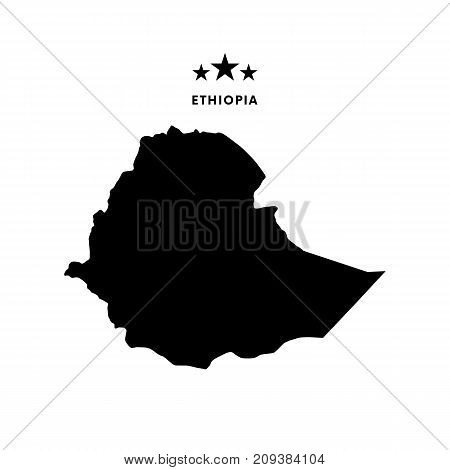 Ethiopia map. Stars and text. Vector illustration.