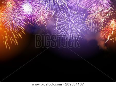 Bright Fireworks display celebrations background with copy space.