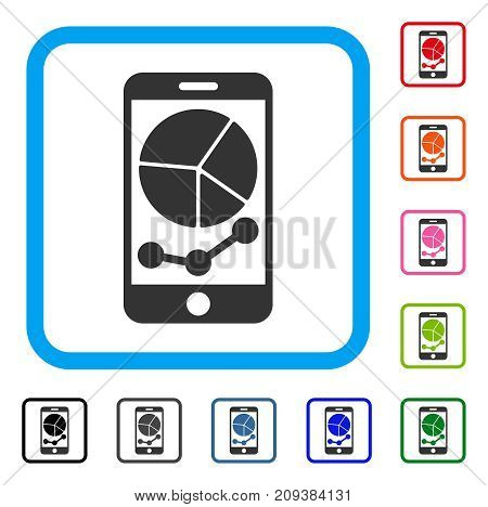 Mobile Graphs icon. Flat grey iconic symbol in a light blue rounded frame. Black, gray, green, blue, red, orange color additional versions of Mobile Graphs vector. Designed for web and app interfaces.