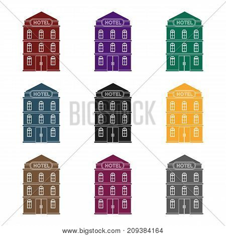 Hotel building icon in black design isolated on white background. Rest and travel symbol stock vector illustration.