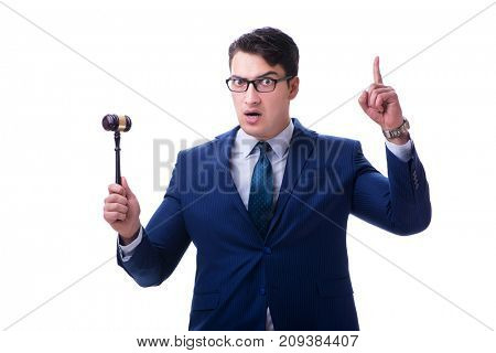 Lawyer law student with a gavel isolated on white background