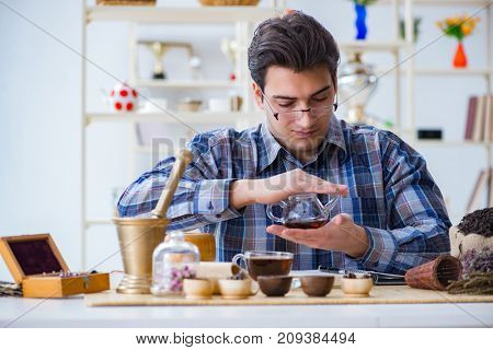 Professional tea expert trying new brews