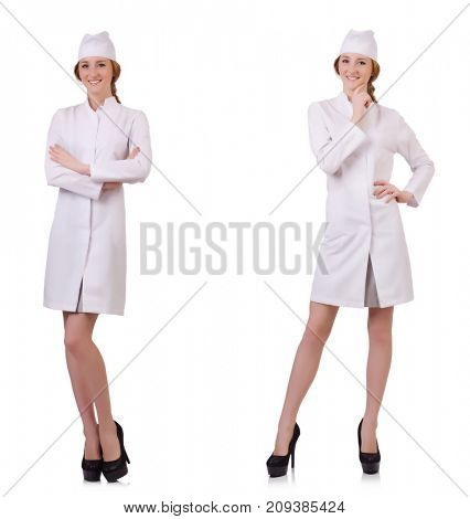 Attractive woman doctor isolated on white